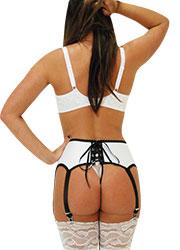 Elaine Edwards Luxury White Burlesque Boned 6 Strap Suspender Belt Zoom 3