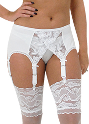 Elaine Edwards White Lace Crossover 6 Strap Suspender Belt Zoom 3