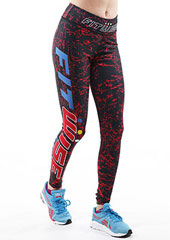 Fit Wise Red Crackle Full Length Fitness Leggings