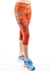 Fit Wise Orange Crackle Capri Fitness Leggings Zoom 1