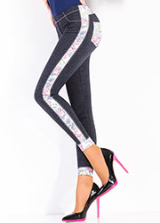 Giulia Leggy Bloom Denim Look Leggings N.3 Zoom 2