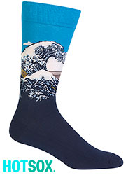 Hotsox Artist Series Mens Great Wave Pattern Socks