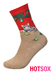 Hotsox Womens Christmas Cat Socks