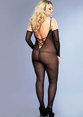 Leg Avenue Plus Size 2 Piece Mini Daisy Bodystocking With Matching Fingerless Gloves (8254Q) Zoom 2