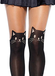 Leg Avenue Black Cat Opaque Thigh High Tights Zoom 2