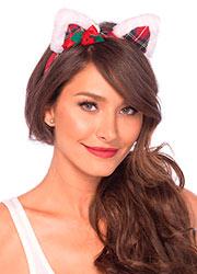 Leg Avenue Christmas Kitty Ear Headband With Mini Hollyberry Bow