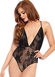 Leg Avenue Deep V Floral Lace Teddy With Crossover Back Straps