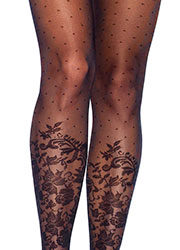 Leg Avenue Dotted Sheer Tights With Knee High Floral Accent Zoom 2