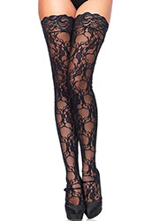 Leg Avenue Floral Lace Hold Ups  Zoom 1