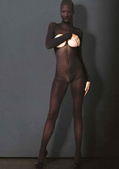 Leg Avenue KINK Hooded Opaque Cupless Crotchless Bodystocking Zoom 1