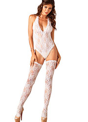 Leg Avenue Lace Deep V Teddy & Stockings Zoom 1