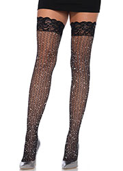 Leg Avenue Lace Top Lurex Cable Net Hold Ups