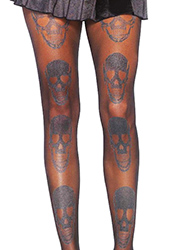 Leg Avenue Laughing Shimmer Skull Print Tights Zoom 2