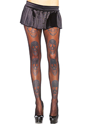 Leg Avenue Laughing Shimmer Skull Print Tights