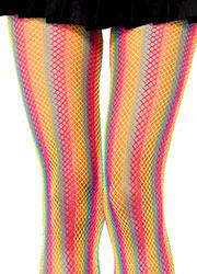 Leg Avenue Neon Rainbow Striped Fishnet Tights Zoom 2