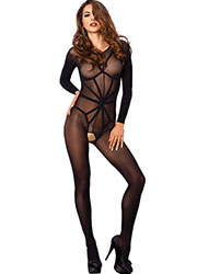 Leg Avenue Opaque Long Sleeve Bodystocking With Harness Overlay