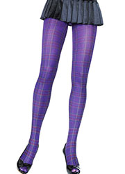 Leg Avenue Opaque Paper Print Plaid Tights