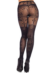 Leg Avenue Opaque Tights With Filigree Thigh And Back Detail Zoom 2