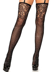 Leg Avenue Rhinestone Fishnet Stockings