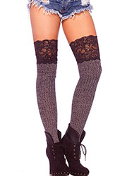 Leg Avenue Ribbed Knit Over The Knee Slouch Socks With Lace Top
