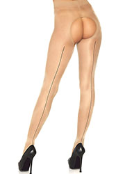 Leg Avenue Sheer Crotchless Tights With Contrast Backseam