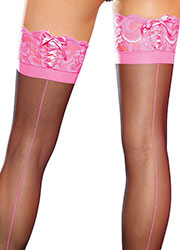 Leg Avenue Sheer Cuban Heel Backseam Stockings With Corset Top Zoom 2