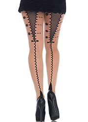Leg Avenue Sheer Cuban Heel Tights With Tuxedo Backseam
