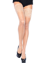 Leg Avenue Sheer Hold Ups With Deep Lace Top Zoom 3