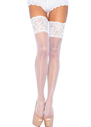 Leg Avenue Sheer Hold Ups With Deep Lace Top Zoom 4
