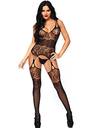 Leg Avenue Strappy Rose Lace Suspender Bodystocking Zoom 1
