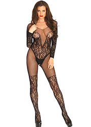 Leg Avenue Vine Lace And Net Long Sleeve Bodystocking
