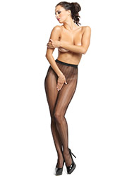 Miss O Fishnet Open Crotch Tights With Stripes Zoom 2