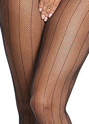Miss O Fishnet Open Crotch Tights With Stripes Zoom 3