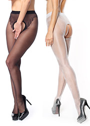 Miss O Sheer Open Tights With Decorative Brief And Backseam Zoom 4