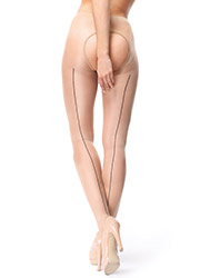 Miss O Sheer Open Tights With Decorative Brief And Backseam Zoom 3