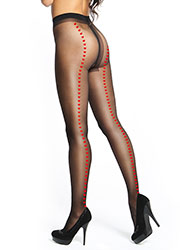 Miss O Shiny Open Crotch Heart Backseam Tights