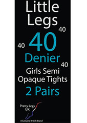 Pretty Legs 40 Denier Girls Opaque Tights 2 Pair Pack