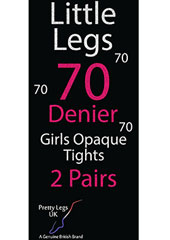 Pretty Legs 70 Denier Girls Opaque Tights 2 Pair Pack