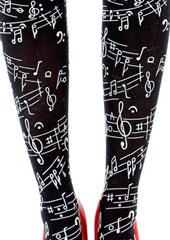 Pamela Mann Flocked Musical Notes Tights Zoom 2
