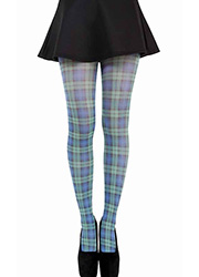 Pamela Mann Black Watch Blue Tartan Printed Tights
