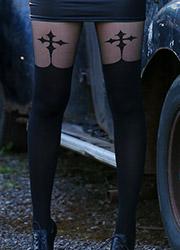 Pamela Mann Goth Cross Suspender Tights Zoom 2