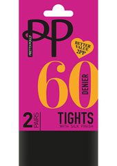 Pretty Polly 60 Denier Opaque Tights With Silk Finish 2PP Thumbnail