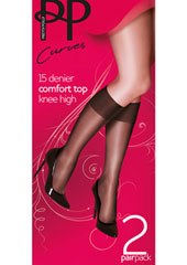 Pretty Polly Curves Comfort Top Knee Highs