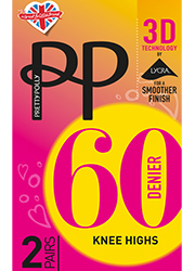 Pretty Polly 60 3D Opaque Knee High 2 Pair Pack