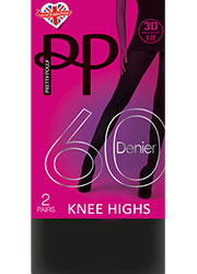 Pretty Polly 60 Denier New 3D Opaque Knee Highs 2 Pair Pack