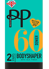 Pretty Polly 60 Denier Body Shaper Tights With Silk Finish 2PP Thumbnail