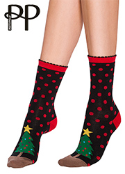 Pretty Polly Christmas Tree Cotton Ankle Socks Thumbnail