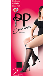 Pretty Polly Curves Comfort Top Knee Highs 2PP