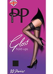 Pretty Polly Everyday 10D Gloss Lace Top Hold Ups Zoom 1