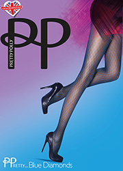 Pretty Polly Blue Diamonds Fashion Tights Zoom 1